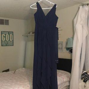David's bridal navy blue bridesmaid dress